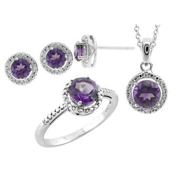 Sterling Silver Amethyst and White Topaz 3 Piece Set