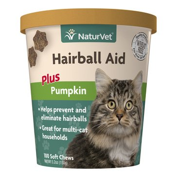Naturvet Hairball Plus Pumpkin Soft Chews for Cats
