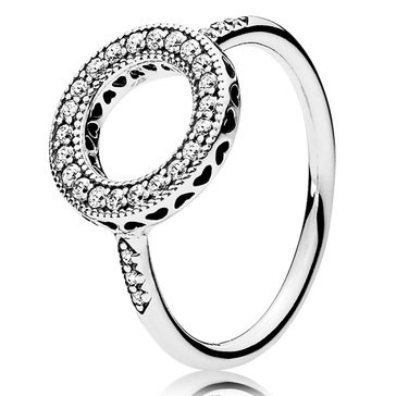 Pandora Sterling Silver Hearts of Pandora Halo Ring, Size 5