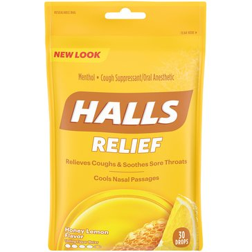 Halls Honey Lemon Throat Drops Bag 30ct