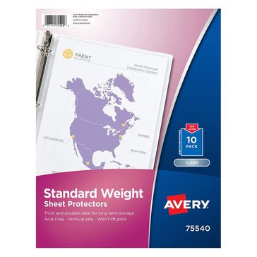Avery 10 Sheet Standard Weight Semi-Clear Acid Free Sheet Protectors