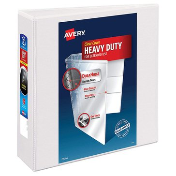 Avery 3 in Heavy-Duty View 1 Touch Slant Rings White Binder for 8.5