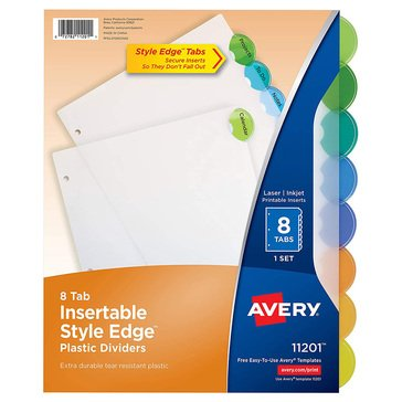 Avery Style Edge Plastic 8-Tab Multicolor Dividers Set With Tab Inserts
