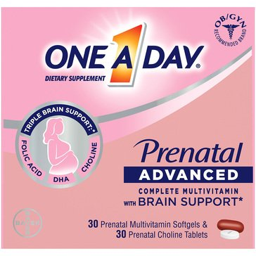 One A Day Women's Prenatal Advanced Multivitamin with Choline Twin Pack (30 + 30)