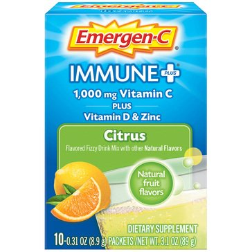Emergen-C Citrus Flavor Immune+System Support With Vitamin D 1000mg 10ct
