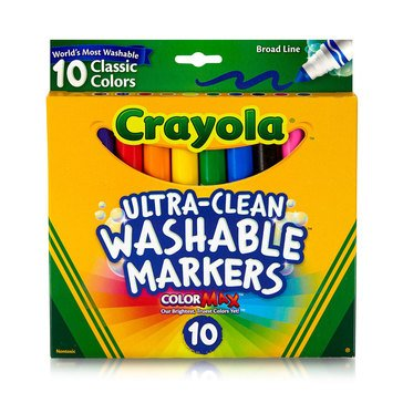 Crayola 10-Count Classic Colors Ultra-Clean Washable Broad Line Color Max Markers