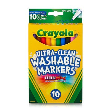 Crayola 10-Count Classic Colors Ultra-Clean Washable Fine Line Color Max Markers