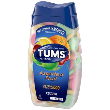 Tums Antacid Calcium Supplement 1000mg Ultra Strength Assorted Fruit Chews