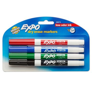 Expo 4-Count Low Odor Assorted 4-Count Color Fine Markers