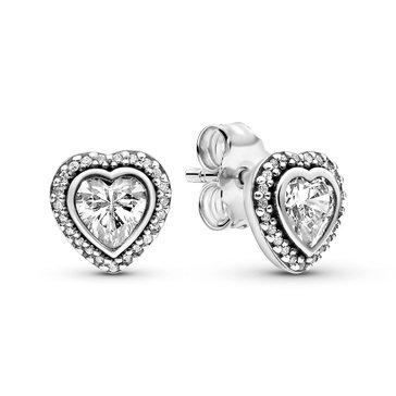 Pandora Sterling Silver Sparkling Love CZ Stud Earrings