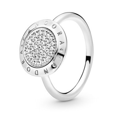Pandora Sterling Silver Sginature CZ Ring, Size 6