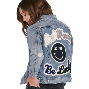 Lucky Brand Women's Denim Trucker Jacket With Smile Patch
