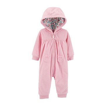 Carter's Baby Girls' Bear Hooded Fleece Romper