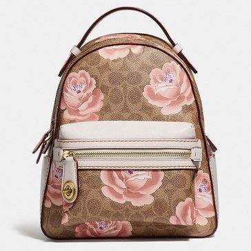 Coach Coated Canvas Signature Rose Print Campus Backpack 23