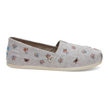 Toms Women's Alpargata Drizzle Chambray With Embossed Slip On
