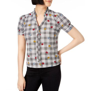 Maison Jules Women's Plaid V-Neck Blouse