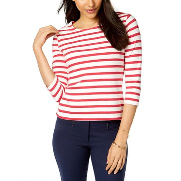 Maison Jules Women's 3/4 Sleeve Striped Tee Bow Back Top