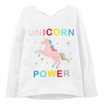 Carter's Little Girls' Grey Unicorn Power Tee