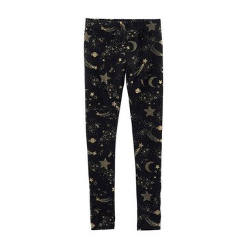 Carter's Little Girls' Black Shooting Star Leggings