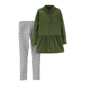 Carter's Little Girls' Olive and Geo Pant Set