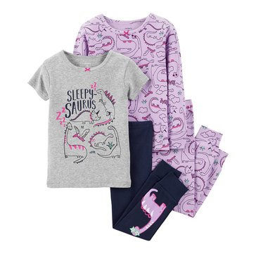 Carter's Toddler Girls' 4-Piece Cotton Dino Pajamas