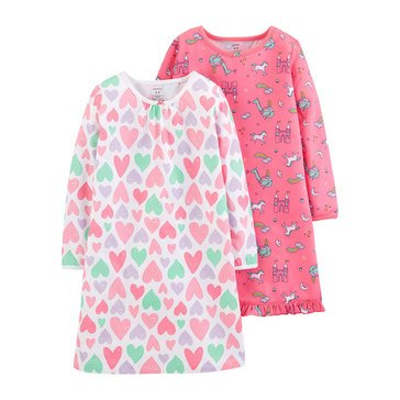 Carter's Toddler Girls' Princesses Pajama Gowns, 2-Pack