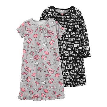 Carter's Big Girls' Words Pajama Gown, 2-Pack