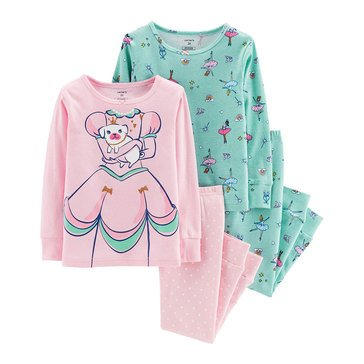 Carter's Baby Girls' 4-Piece Cotton Pajamas Set