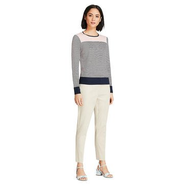 Brooks Brothers Women's Solid Yoke Striped Sweater