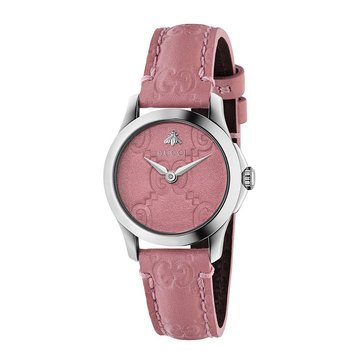 Gucci Women's G-Timeless Pink Leather Strap Watch, 27mm