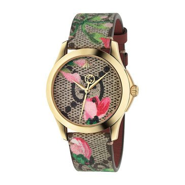 Gucci Women's G-Timeless Pink Blooms Canvas Strap Watch, 38mm