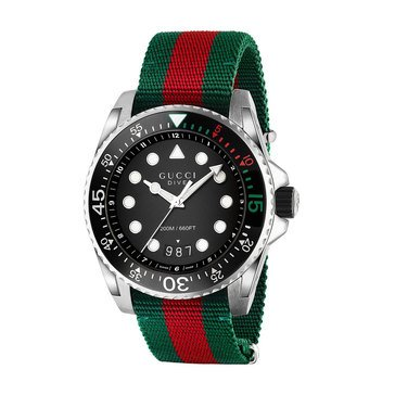 Gucci Men's Dive Green and Red Nylon Strap Watch, 45mm