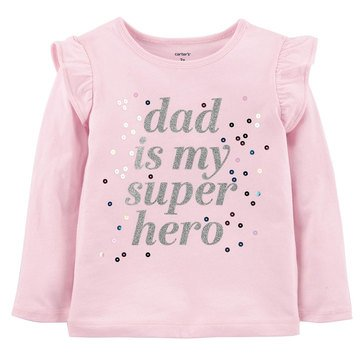 Carter's Toddler Girls' Long Sleeve Dad Super Hero Tee