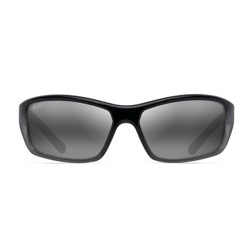Maui Jim Unisex Barrier Reef Black with Silver and Grey Wrap Sunglasses
