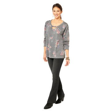Democracy Women's Knit Lace Up Printed Hi Lo Hemmed Top
