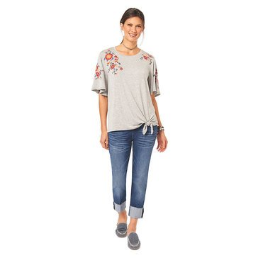 Democracy Women's Knit Short Bell Sleeve Tie Front Top with Embroidery
