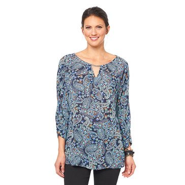 Democracy Women's Woven Double Tuck Sleeve Top with Neckbar Detailing