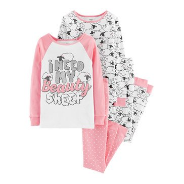 Carter's Big Girls' 4-Piece Cotton Pink Beauty Sheep Pajamas