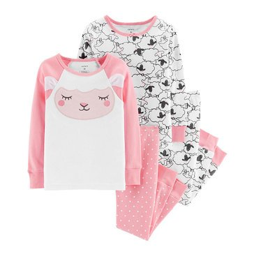 Carter's Toddler Girls' 4-Piece Cotton Lamb Face Pajamas