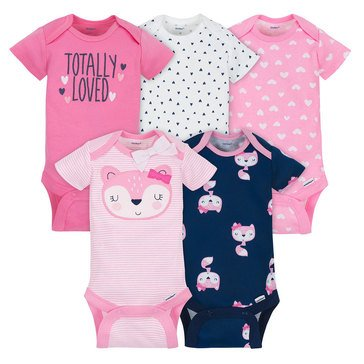 Gerber Baby Girls' 5-Pack Onesies, Pink Fox