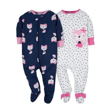 Gerber Baby Girls' 2-Pack Zip Front Sleep N Play, Pink Fox