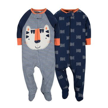 Gerber Baby Boys' 2-Pack Zip Front Sleep N Play, Tiger