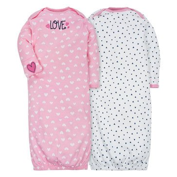 Gerber Baby Girls' 2-Pack Gowns, Pink Fox