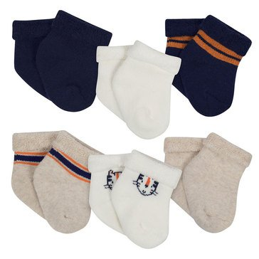 Gerber Baby Boys' Terry Bootie Socks, 6-Pack, Tiger