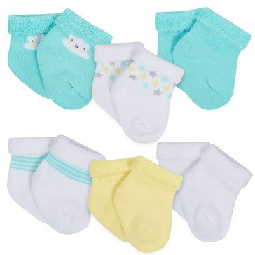 Gerber Newborn Terry Bootie Socks, 6-Pack, Clouds