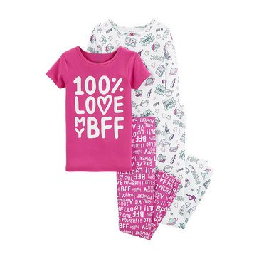Carter's Little Girls' 4-Piece Cotton Pajamas, Silver Words