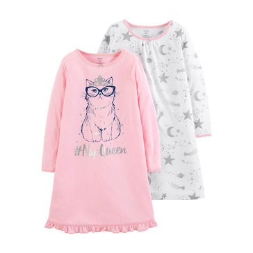 Carter's Little Girls' 2-Pack Gowns, Nap Cat