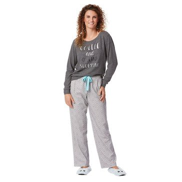 Jammer's Women's Peace Love Dreams Plaid Knit Sleep Pants extended sizes