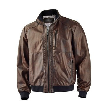 Calvin Klein Mens Faux Leather Moto Jacket