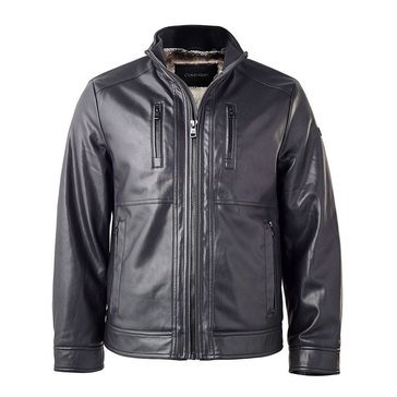 Calvin Klein Mens Faux Leather W/Sherpa Lining Jacket